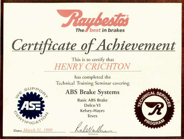 Raybestos Brake Certification