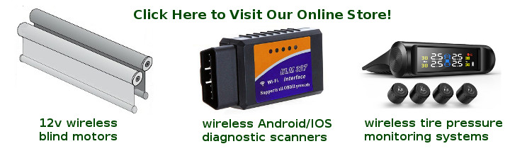 RV blind motors, diagnostic scan tools, tire pressure monitoring systems (TPMS)